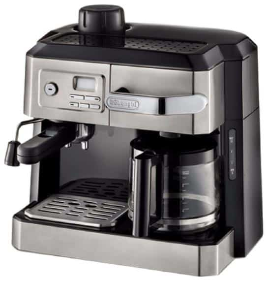 Stainless steel espresso machine with a contemporary finish.