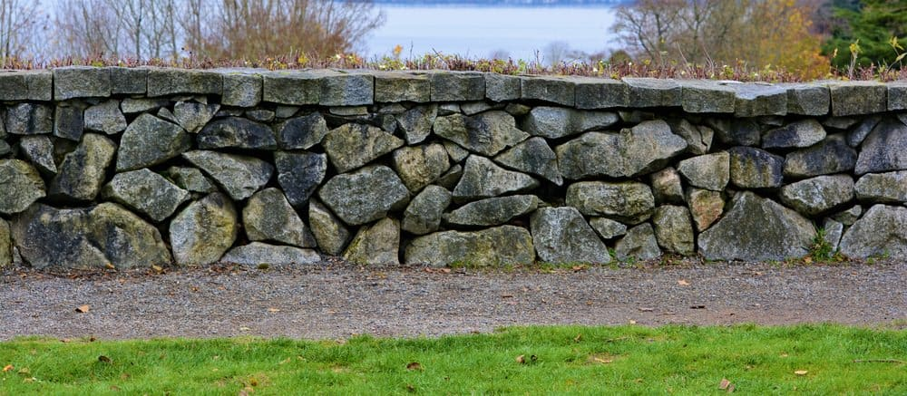Stone wall serving as backyard fence