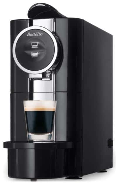 Tall and easy-to-clean espresso machine in black.