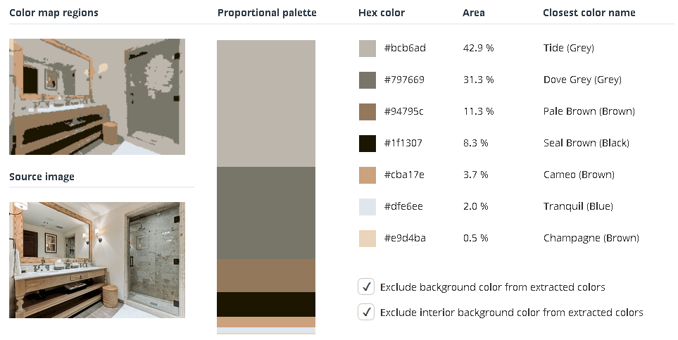 White bathroom with grey, brown, and black.
