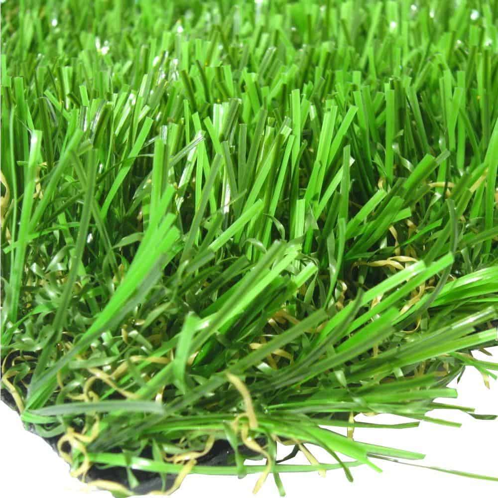 Synthetic grass turf with UV-stabilized fibers.