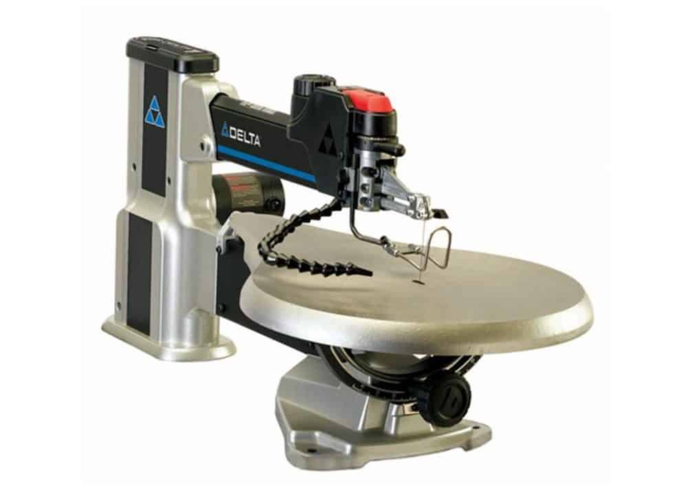 Scroll saw with a variable speed feature.