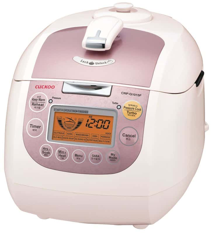 Programmable 10-cup electric rice cooker.