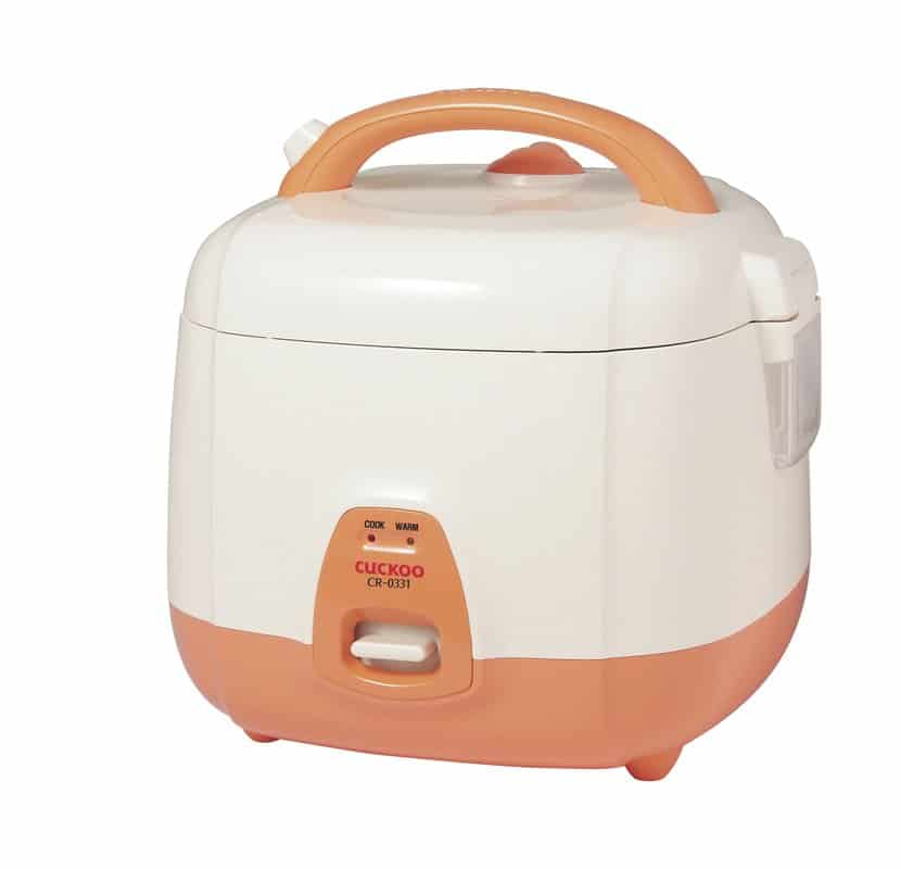 Small 3-cup electric rice cooker.