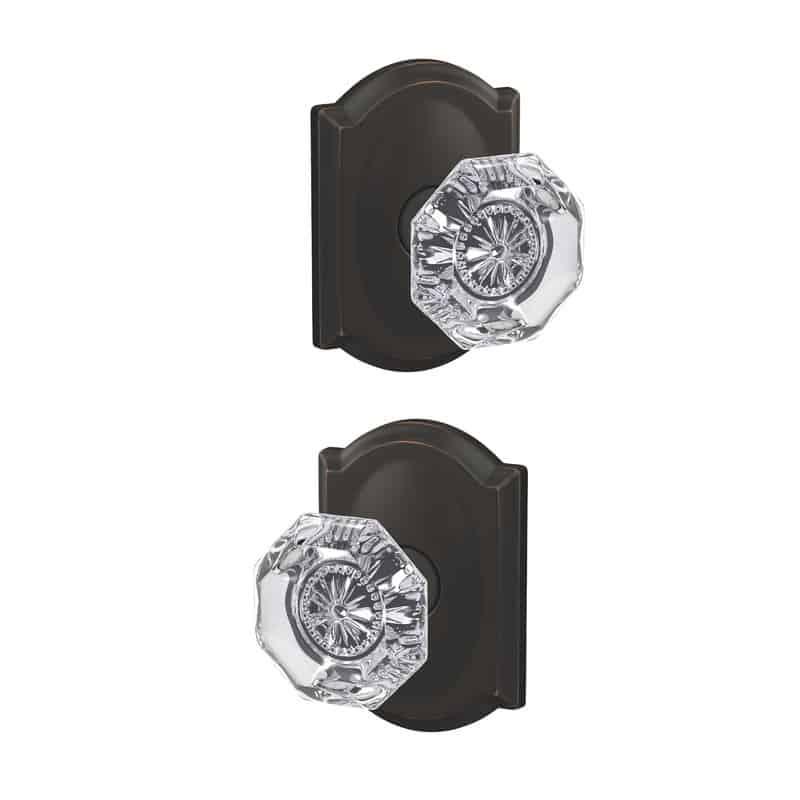 Octagonal door knob.