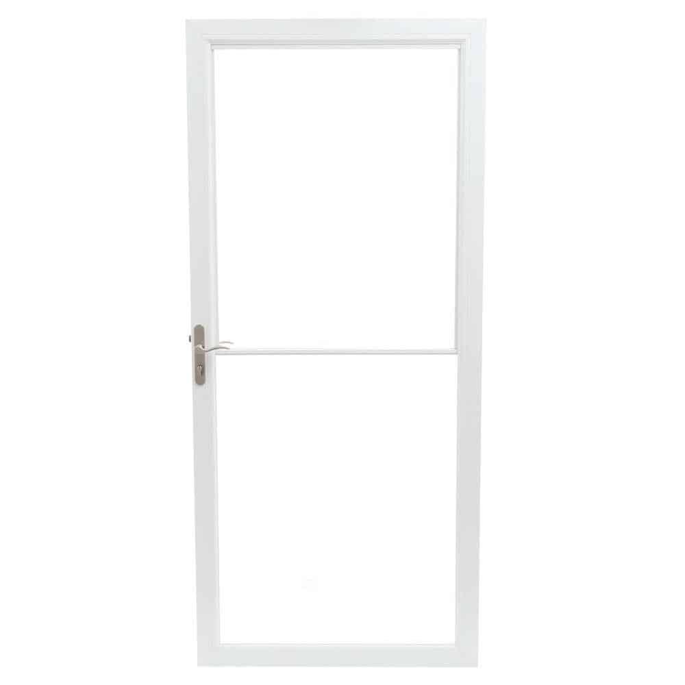 White, aluminum storm door.