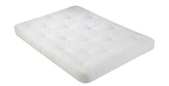 White, cotton futon mattress.