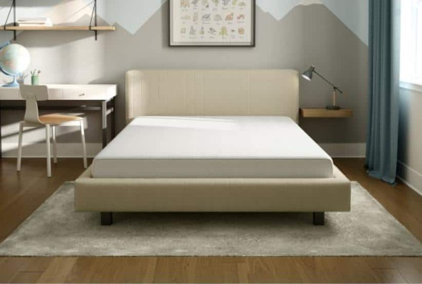 High-density and firm memory foam mattress in white.