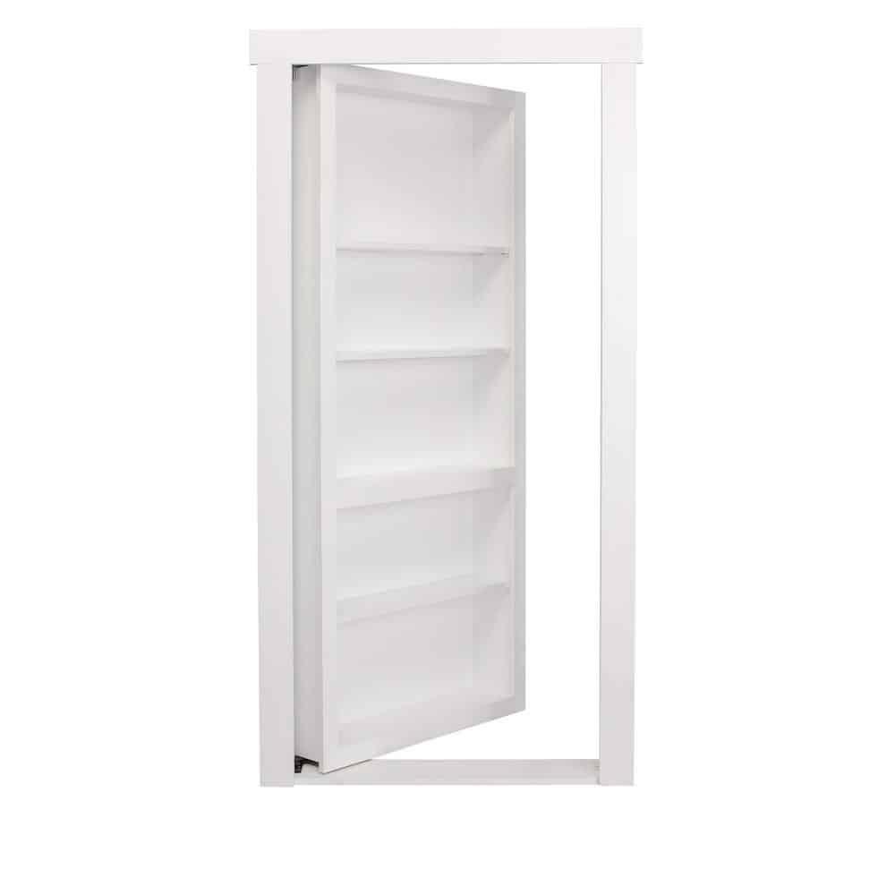 White, hidden door with storage.