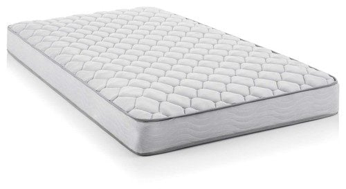 White, queen-size innerspring mattress with medium firmness.