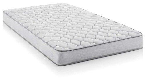 White, queen-size innerspring mattress with medium firmness.