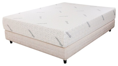 Queen-size memory foam mattress in white.