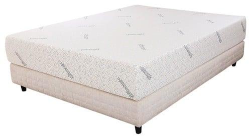 Queen-size memory foam mattress in white.