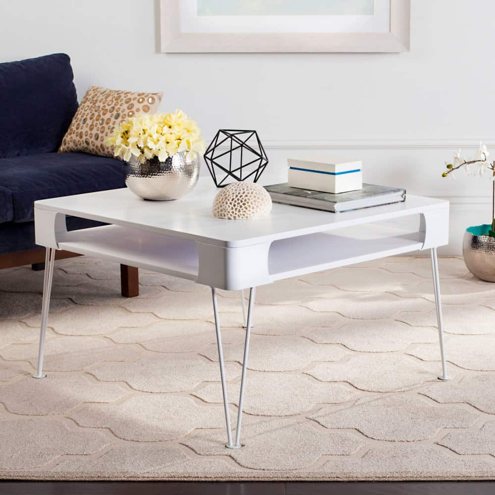 White, square coffee table with a storage.