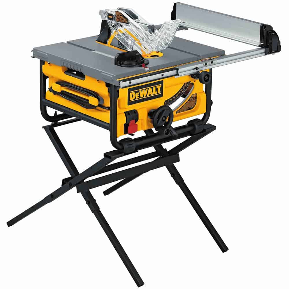Job site table saw with stand.