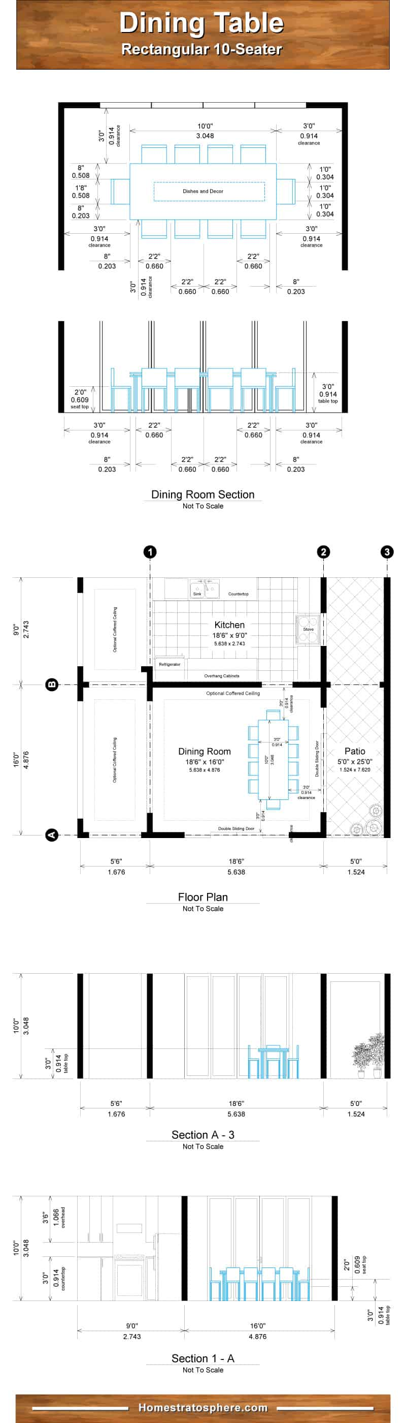 Chart diagram setting out the dining room and table dimensions for 10 people