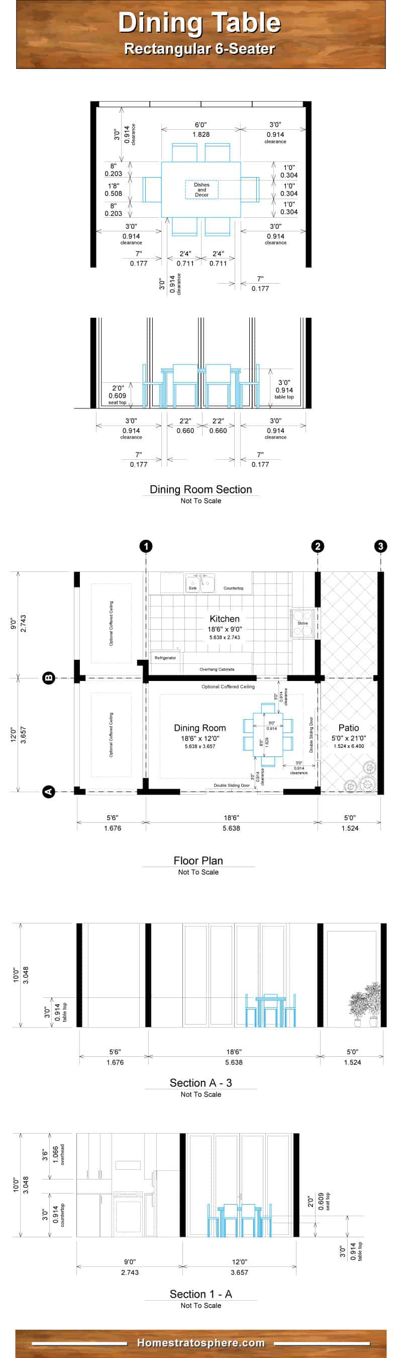 Diagram setting out dining room and table dimensions for 6 people