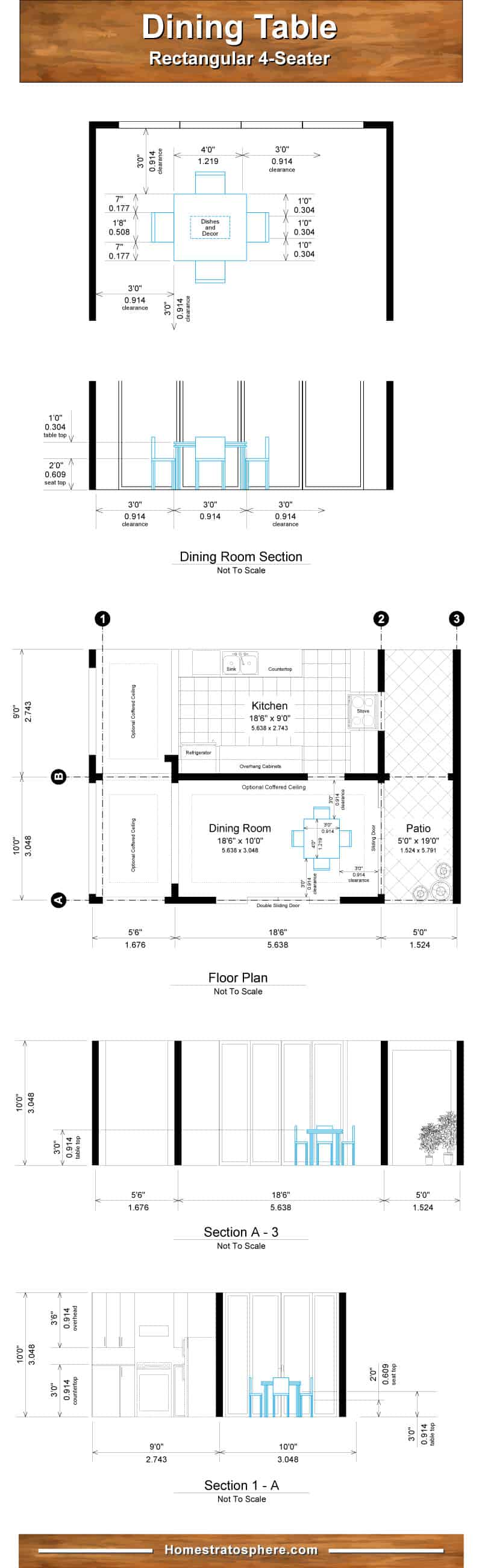 Chart diagram setting out the dining room and table dimensions for 4 people.