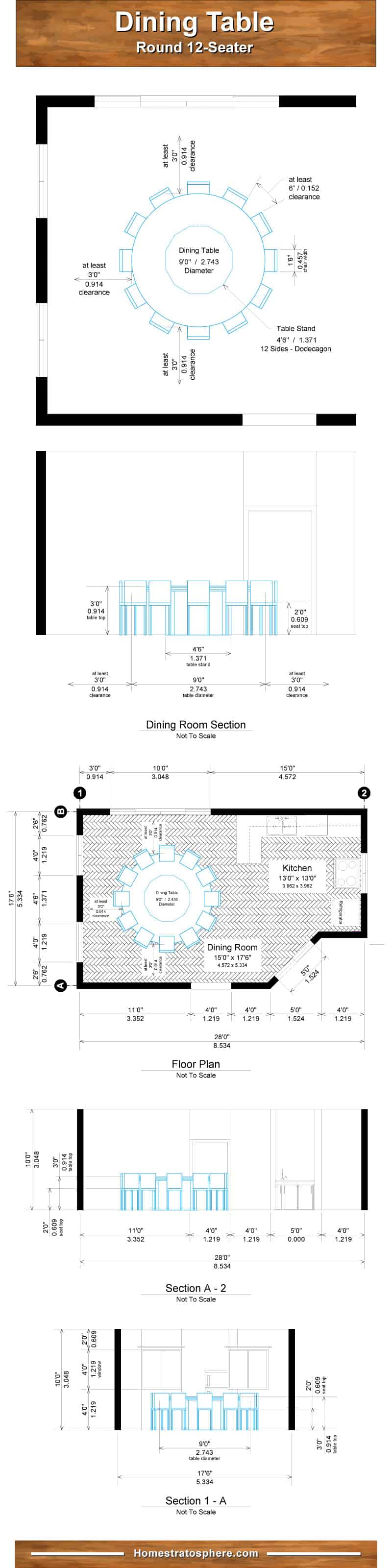 Round dining table dimensions chart for 12 people
