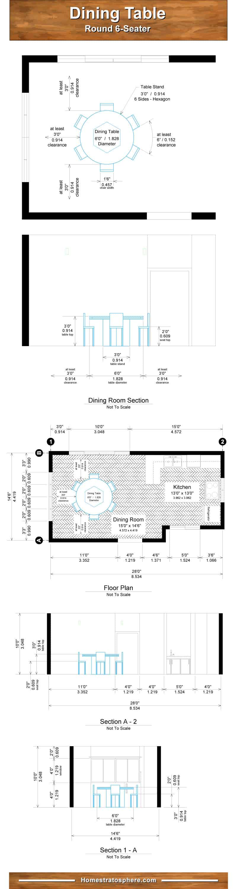 Rounding dining table dimensions chart for 6 people