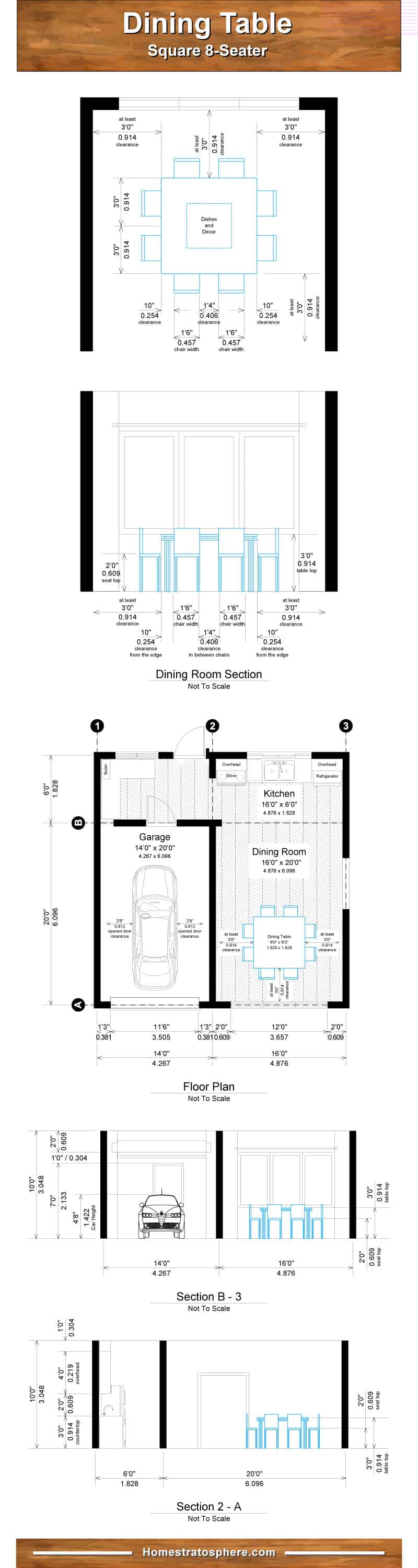 Square dining table dimensions chart for 8 people
