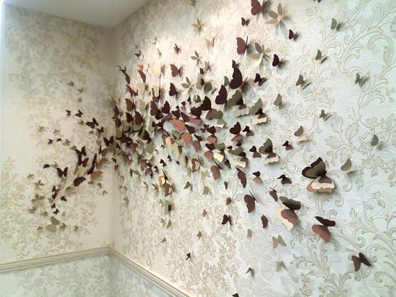 Metallic 3D butterflies as wall art.