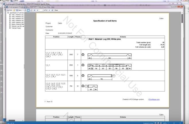 K3-Cottage Log House Design Software Documents