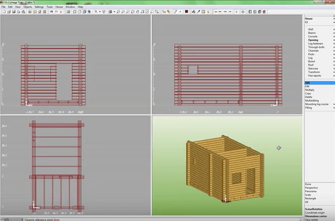 K3-Cottage Log House Design Software Doors and Windows