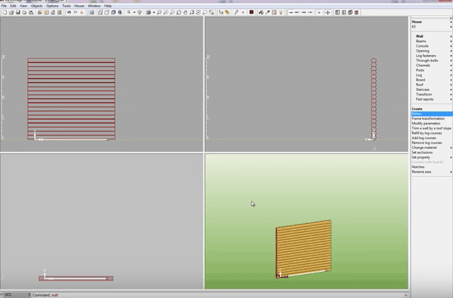 K3-Cottage Log House Design Software Walls