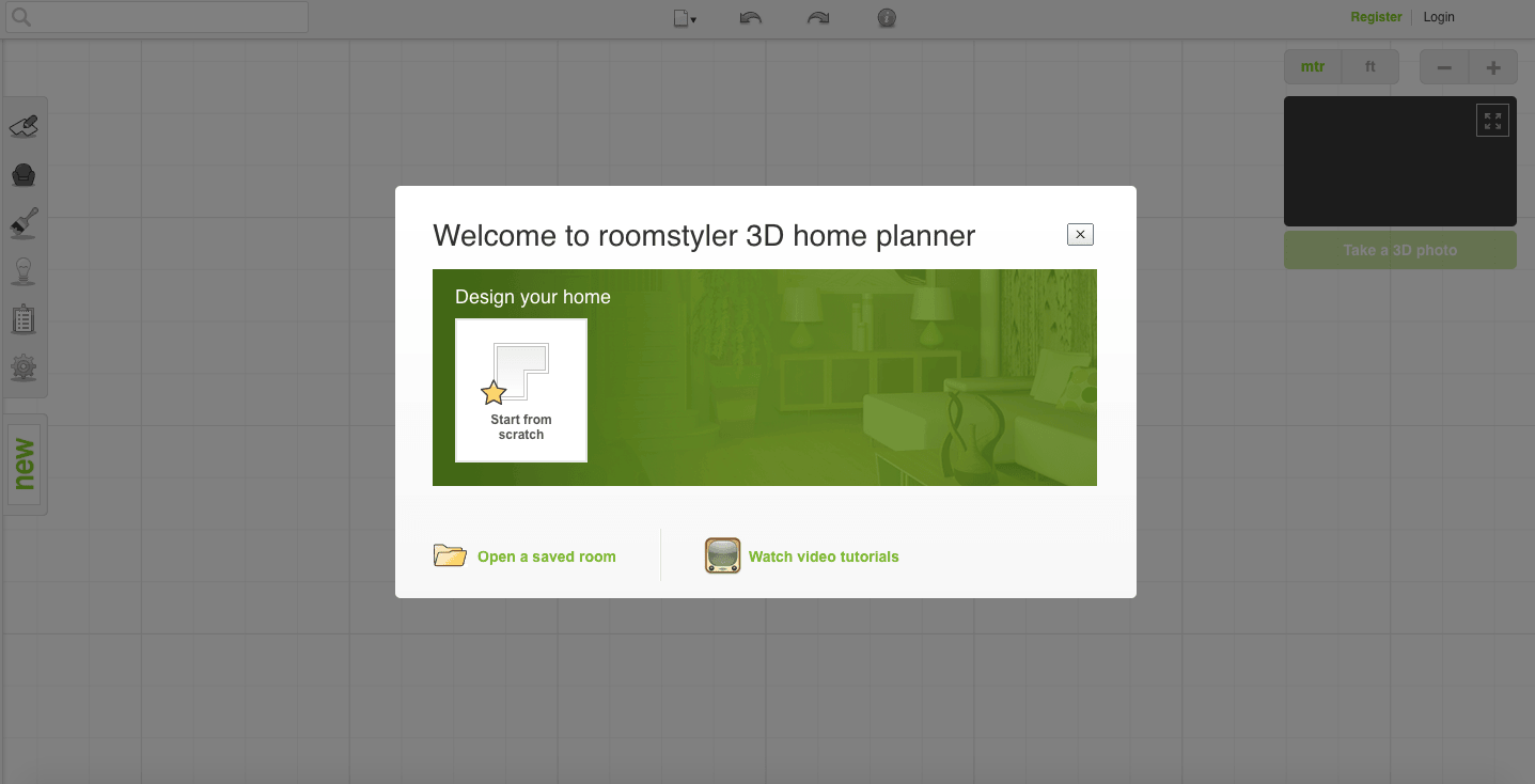 Roomstyler 3D Planner Home Screen