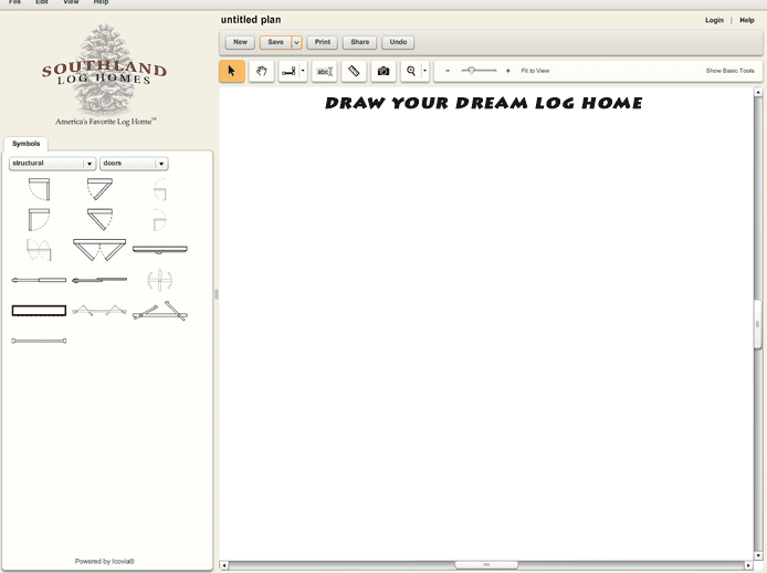 Custom Log Home Design Tool User Interface