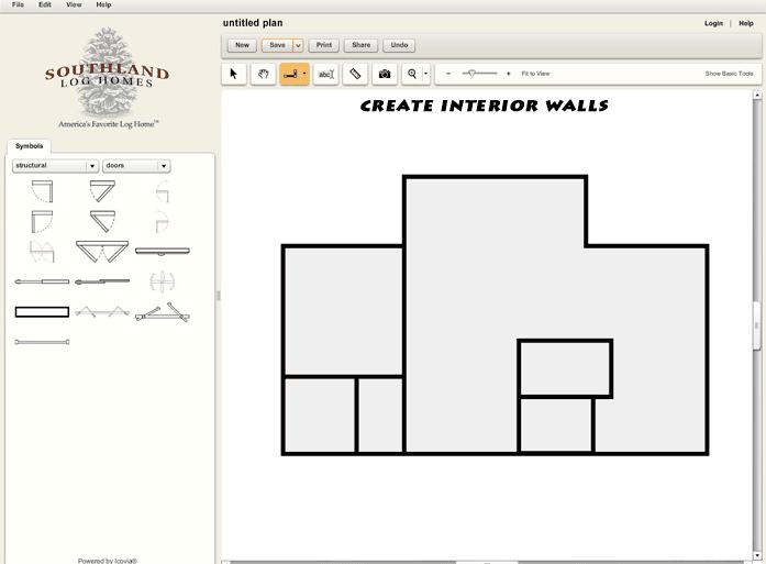 Custom Log Home Design Tool Interior Walls