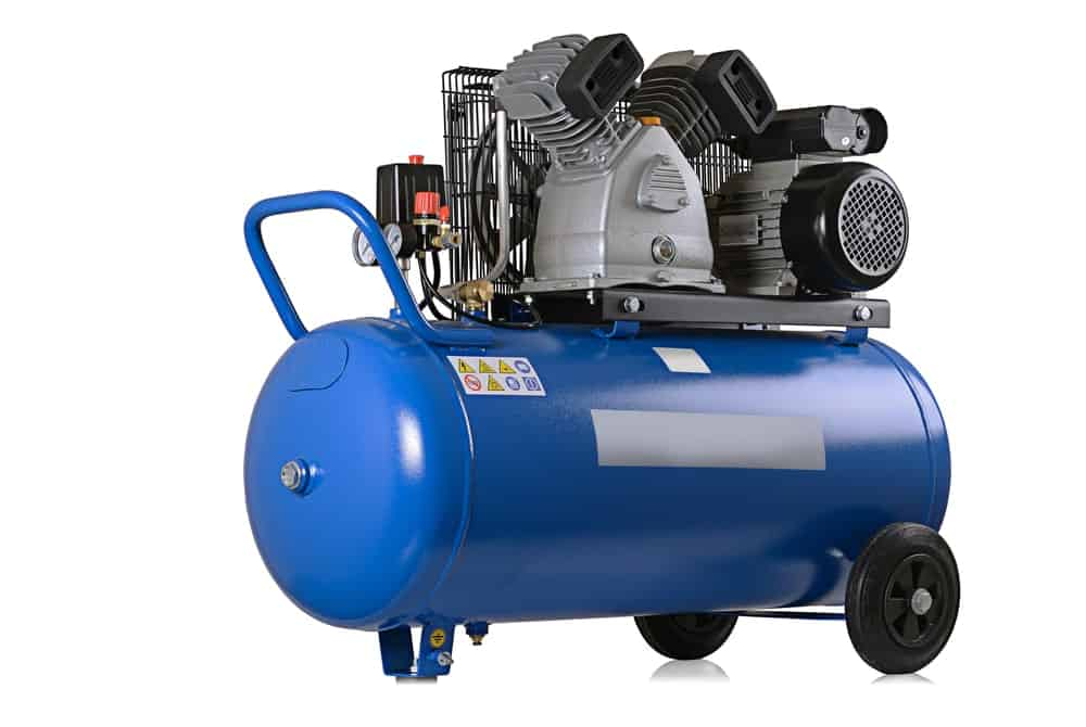 Air compressor on white background.
