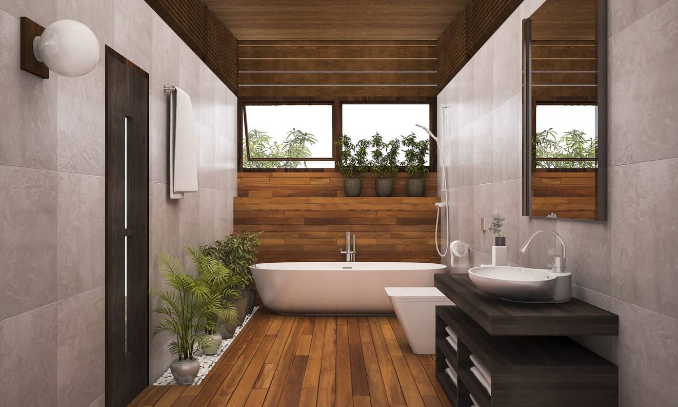Example of a bioliphically designed bathroom with plants and plenty of natural wood and windows letting in natural light.
