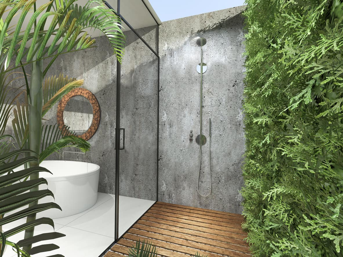 Bioliphic bathroom with glass wall, outdoor shower and hedge for privacy