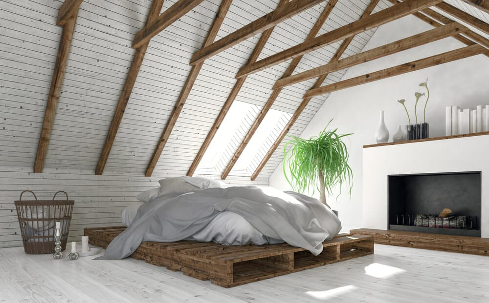 A beach-style platform bed with a white mattress.
