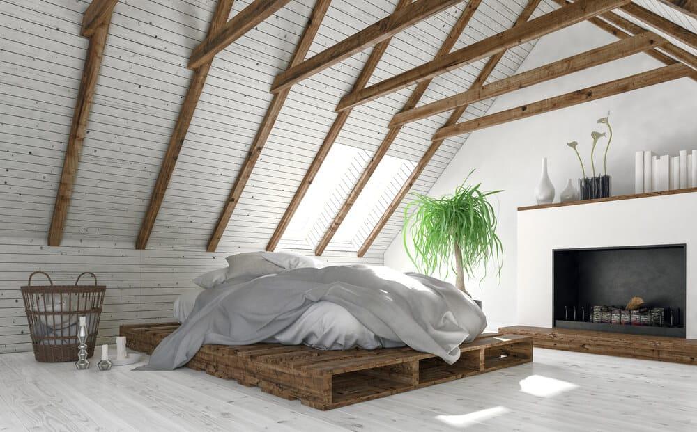 A beach-style platform bed with a white mattress.