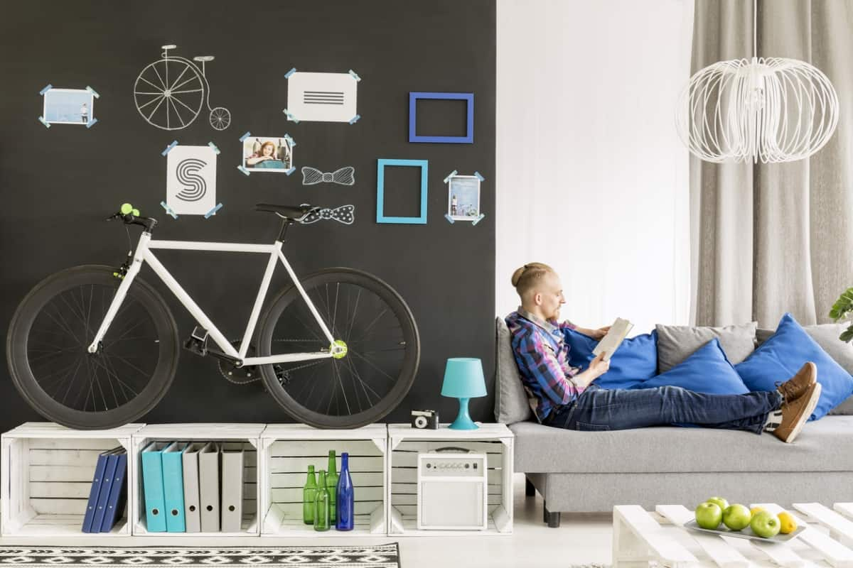 Bicycle in a small room.