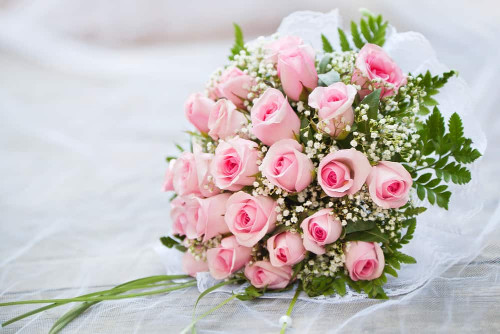Wedding bridal bouquet of pink roses
