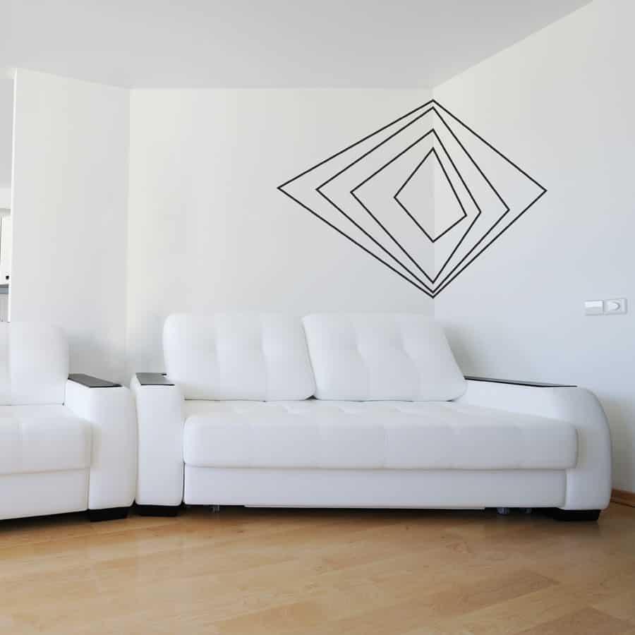 Geometric corner wall art.