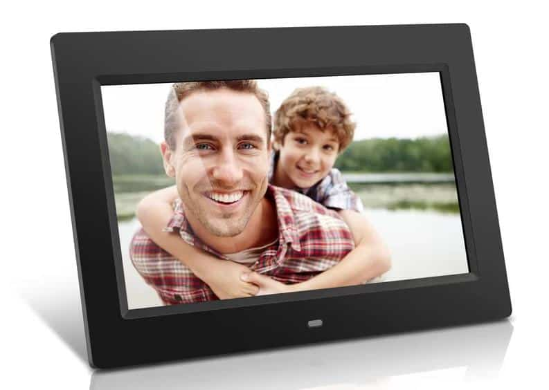 A sleek digital picture frame with a charcoal black frame in a matte finish.