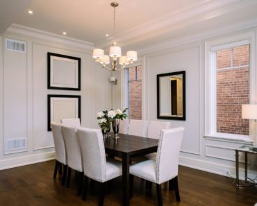 Beautiful dining room with dining table for 8 people.