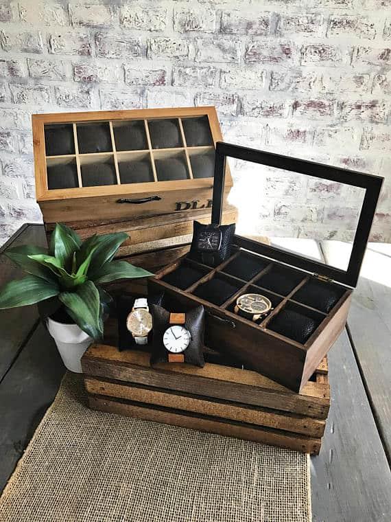 Faux leather watch storage