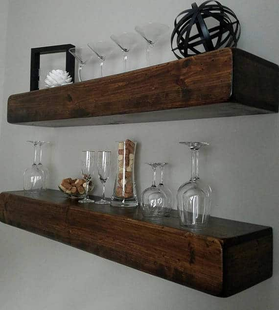 TV shelf made out of reclaimed wood