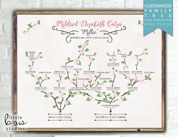 A printed and customized family tree wall art.