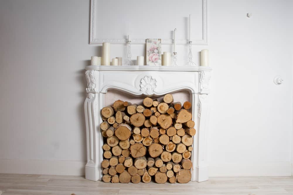 Firewood storage in an unused fireplace.