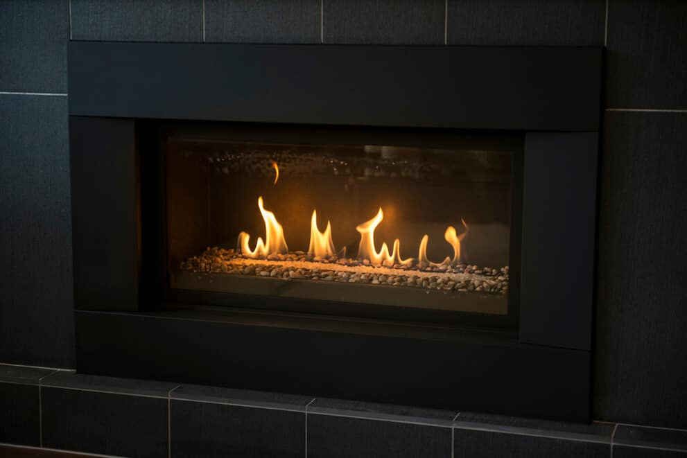 Gas fireplace at home.