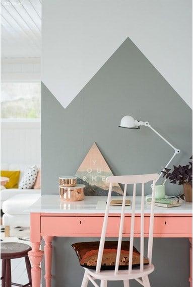 Geometric half painted wall decor.