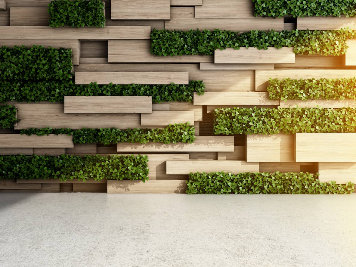 Vertical interior wall with plants for interior bioliphic design example.