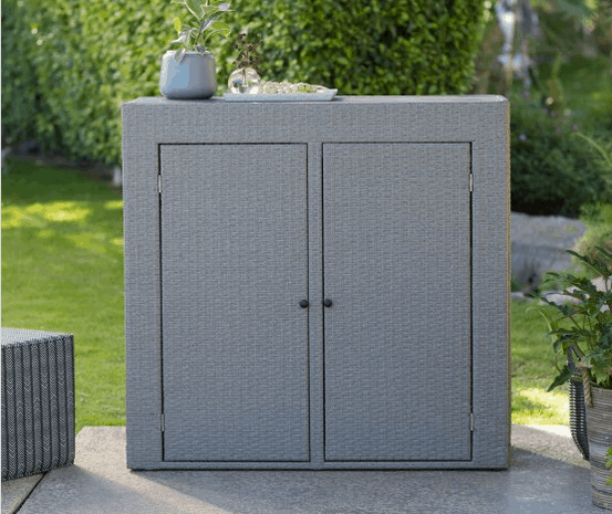 Resin wicker for deck or patio storage